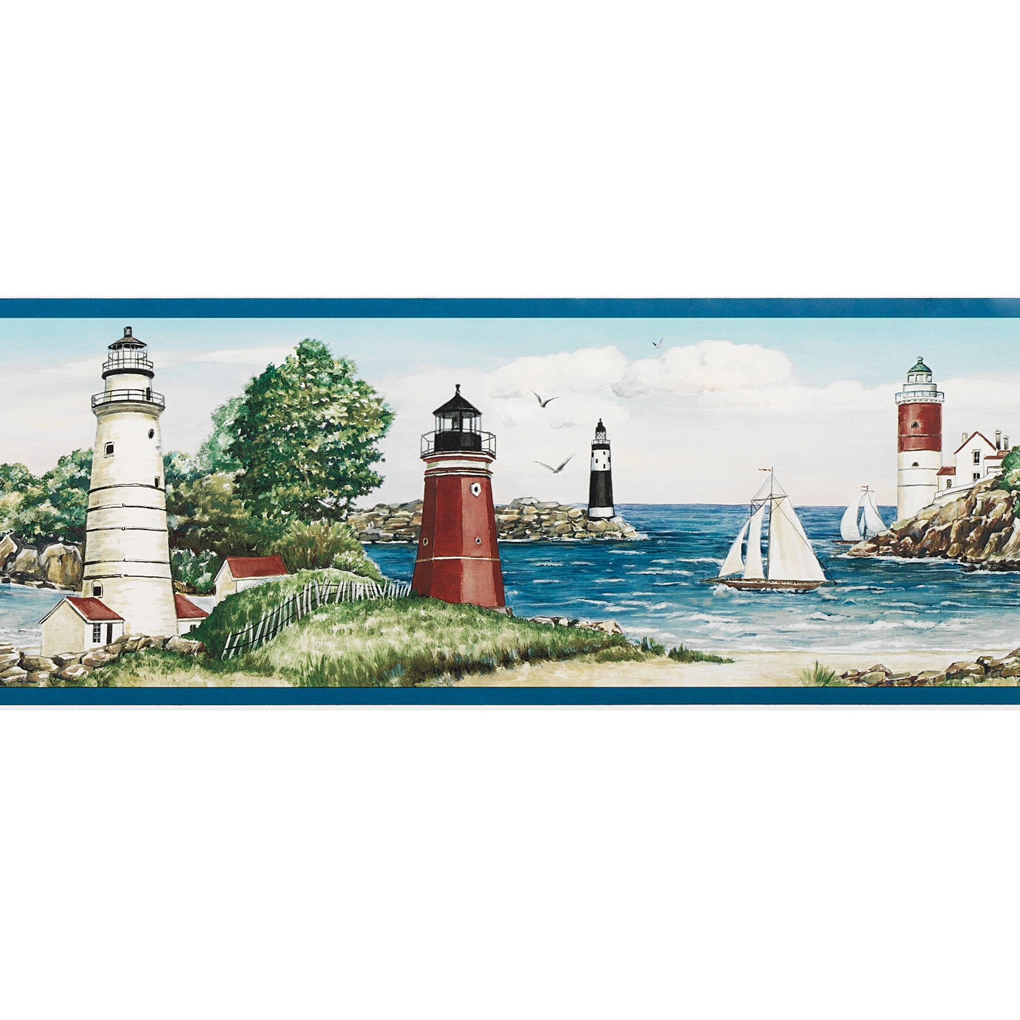 Home Lighthouse Sailboat Wallpaper Border Multi Warm 2000x2000