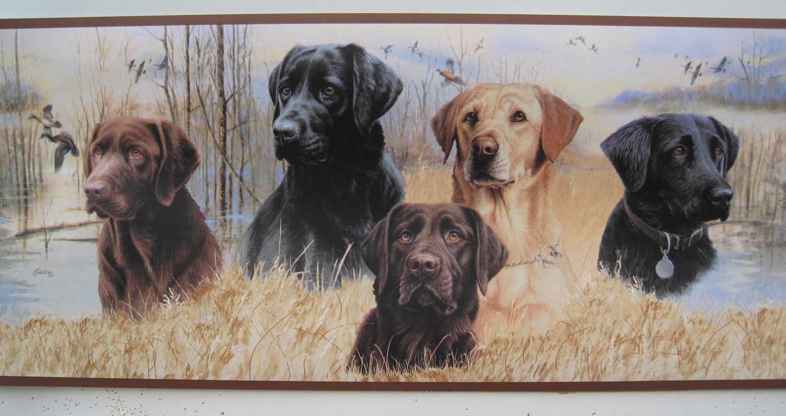 LABRADOR RETRIEVER DOGS DUCK HUNTING Wallpaper Border 9 1600x848