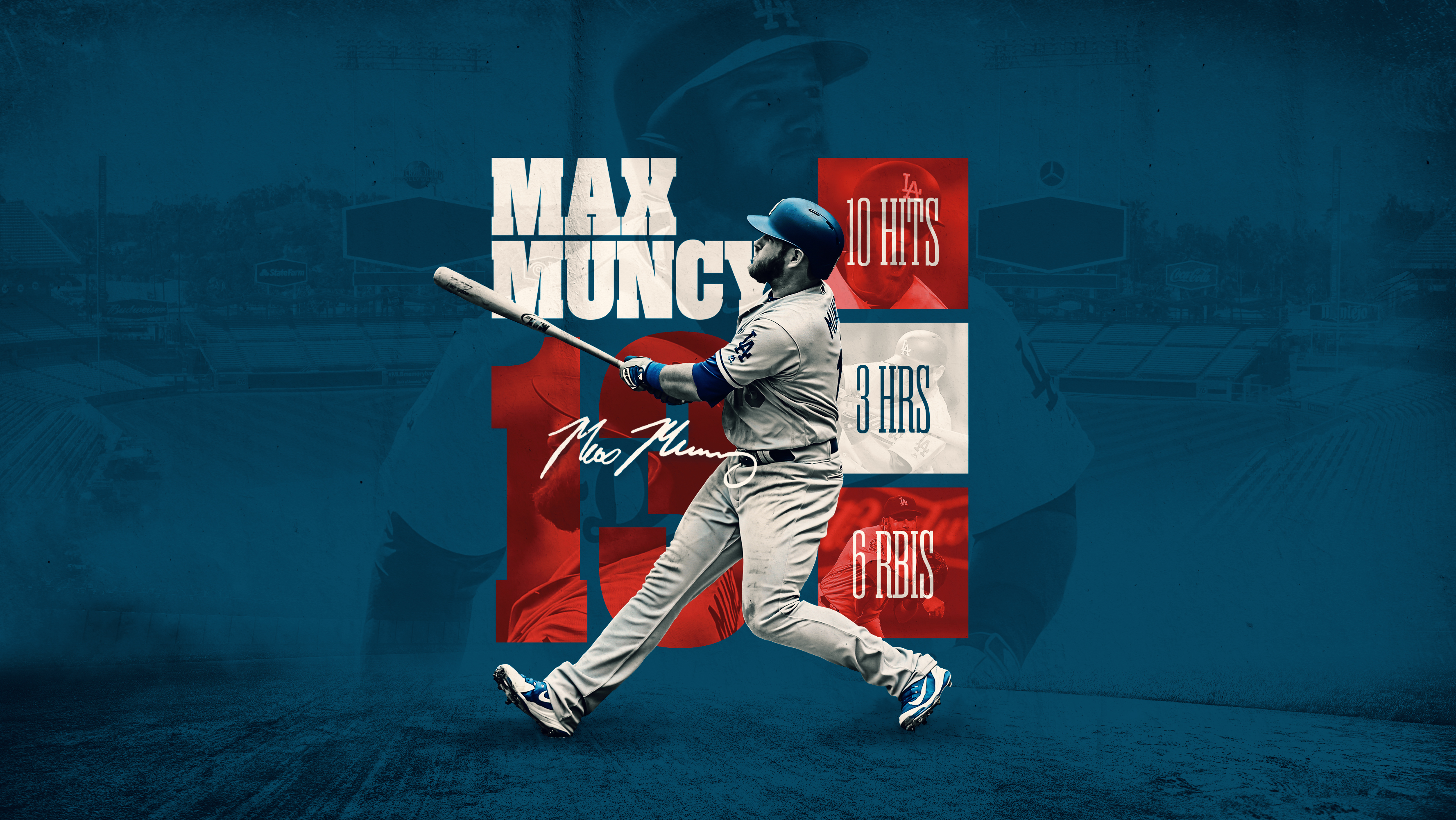 Max Muncy WS Stats Desktop Wallpaper Dodgers 3555x2000