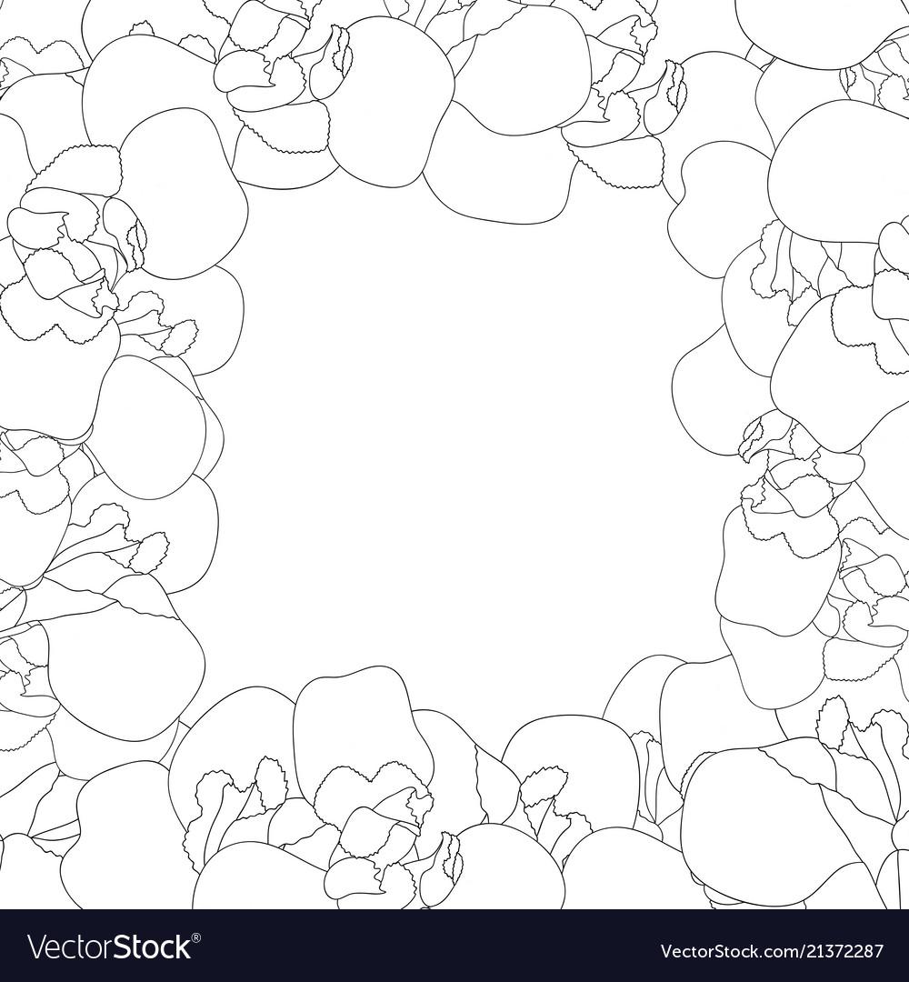 Iris flower outline border on white background Vector Image 1000x1080