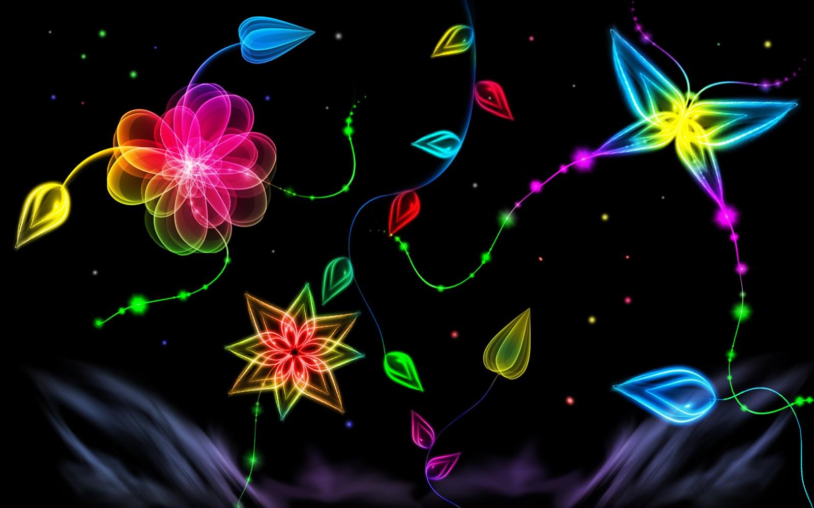Neon Light Flower 1600x1000