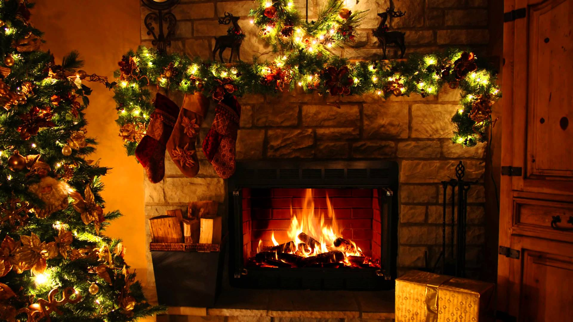 1920x1080px Christmas Fireplace Background