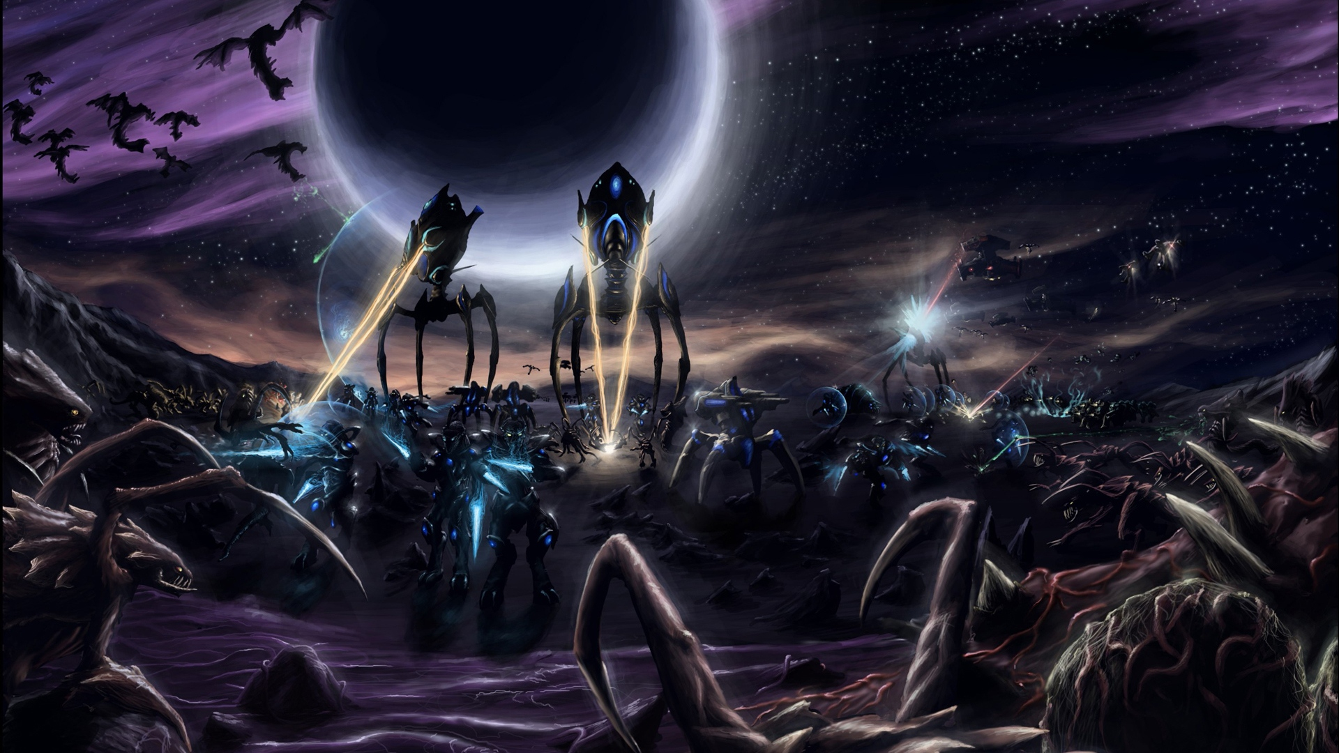Wallpaper starcraft legacy of the void art protoss attack surface 1920x1080