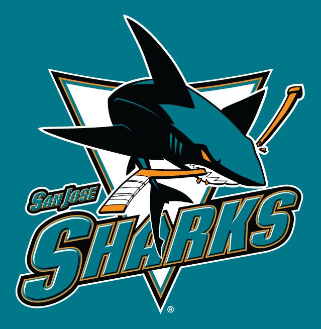 San Jose Sharks Alternate Logo 2008   Full body shark chomping stick 639x655