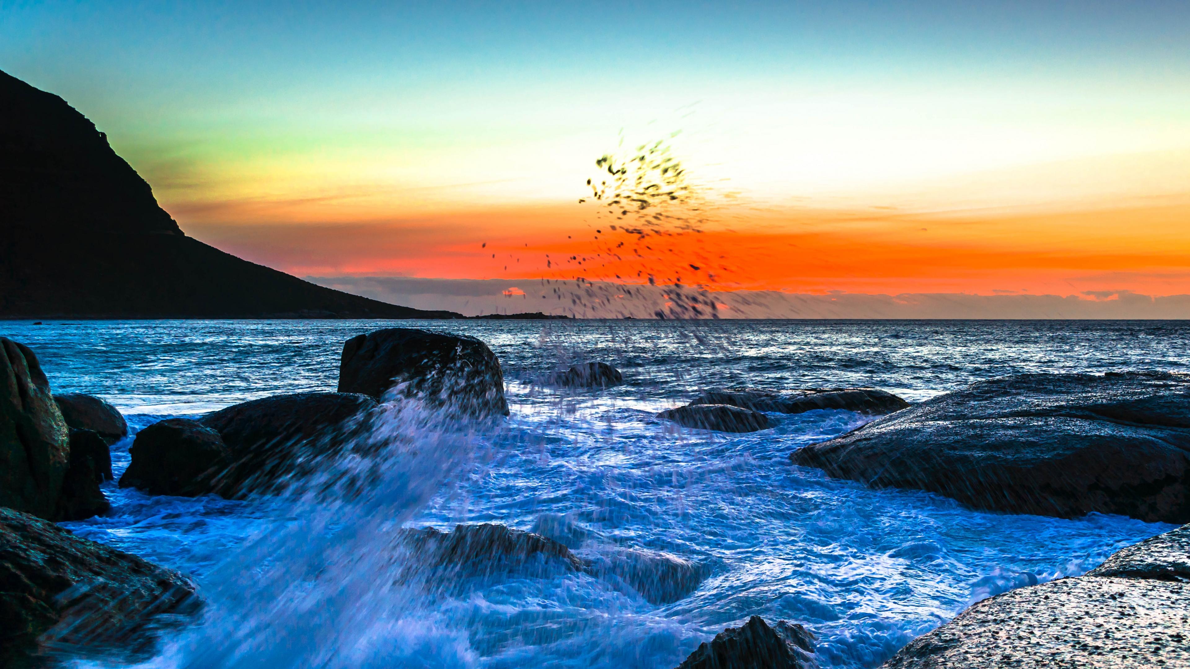 Wallpaper 3840x2160 sea spray surf sunset 4K Ultra HD HD Background 3840x2160