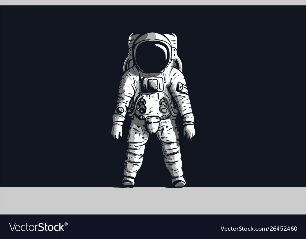 Astronaut on isolated black background in black Vector Image 1000x780
