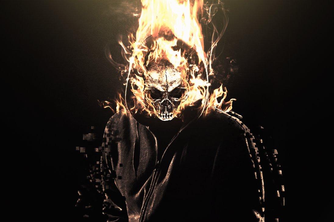 Flaming Skull Manipulation Wallpaper by RCDezine 1096x729
