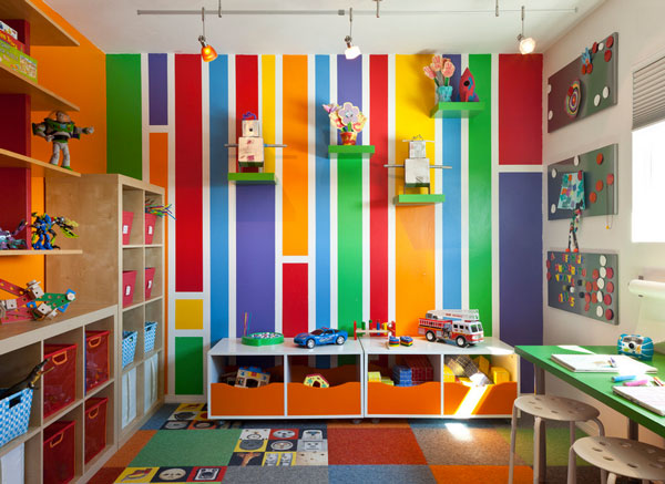 Interior Playful Kids Room Decor With Striped Wallpaper And Open Toy 600x437