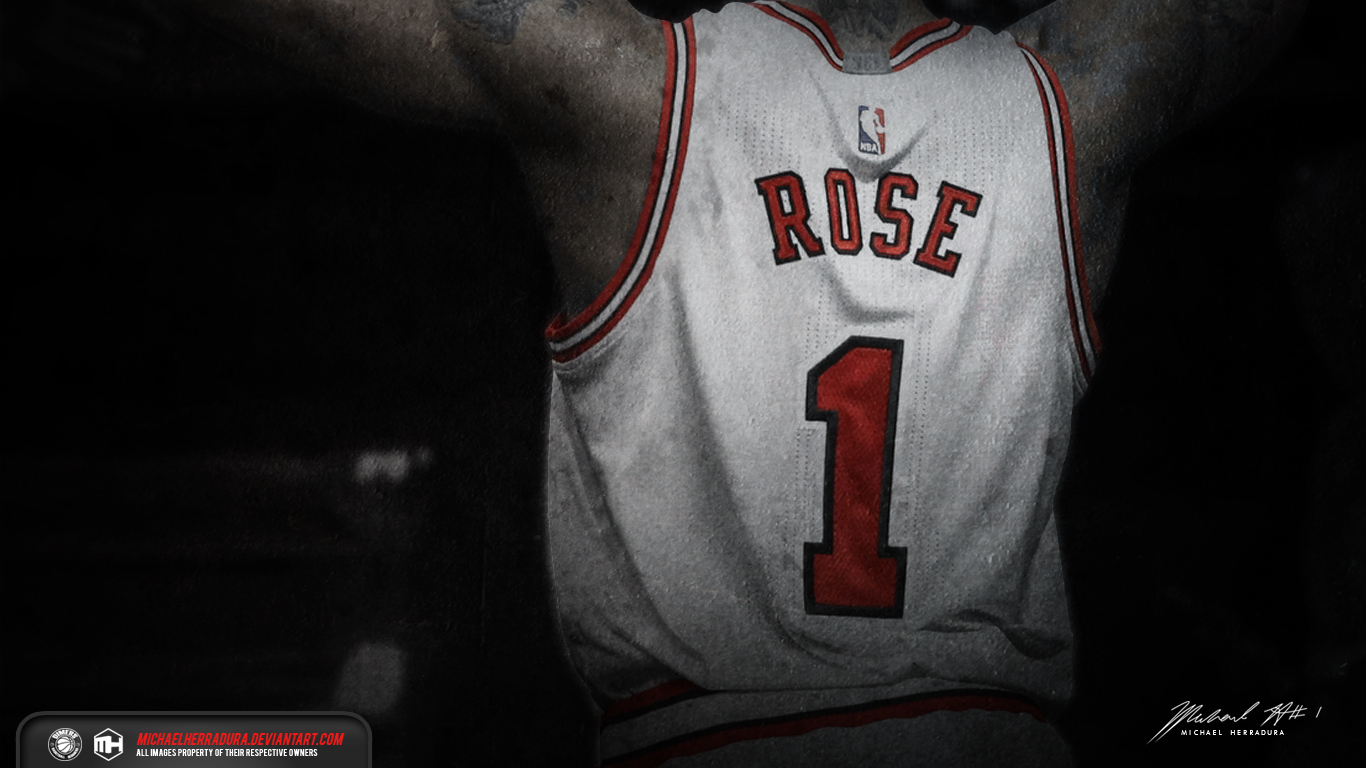 derrick rose jersey wallpaper by michaelherradura fan art wallpaper 1366x768