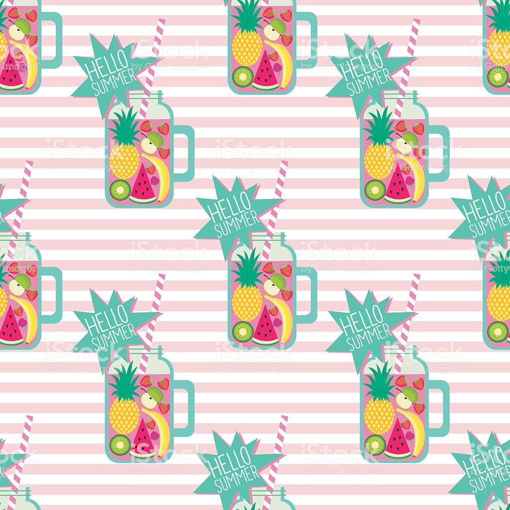 Hello Summer Seamless Pattern Fresh Smoothie On Stripped 1024x1024