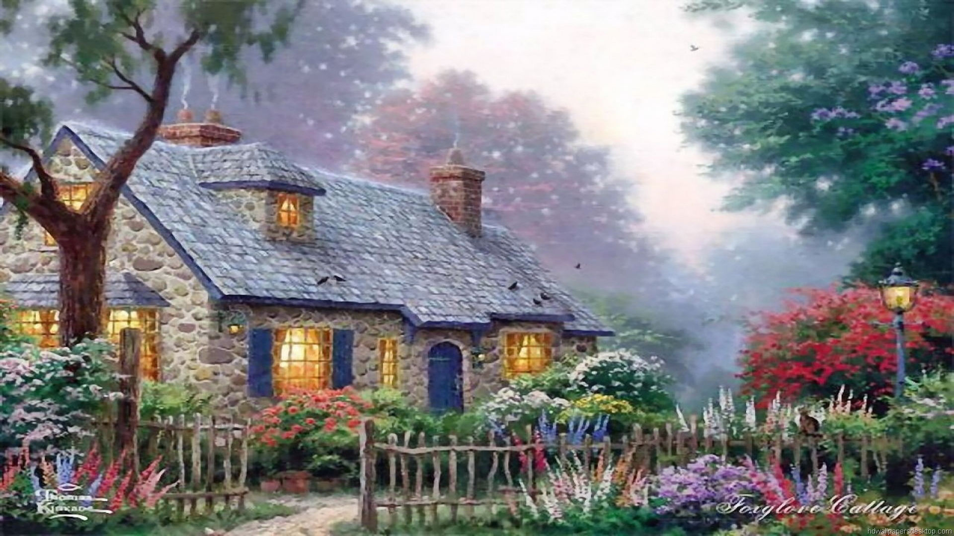 45 thomas kinkade summer wallpaper on wallpapersafari for Paesaggi di primavera per desktop