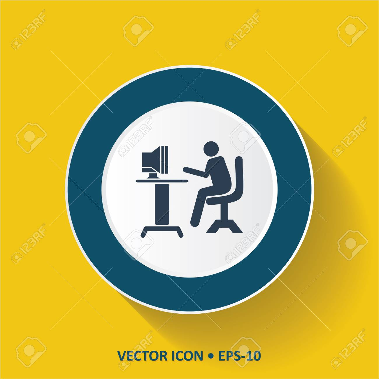 Blue Vector Icon Of Computer Operator On Yellow Color Background 1300x1300