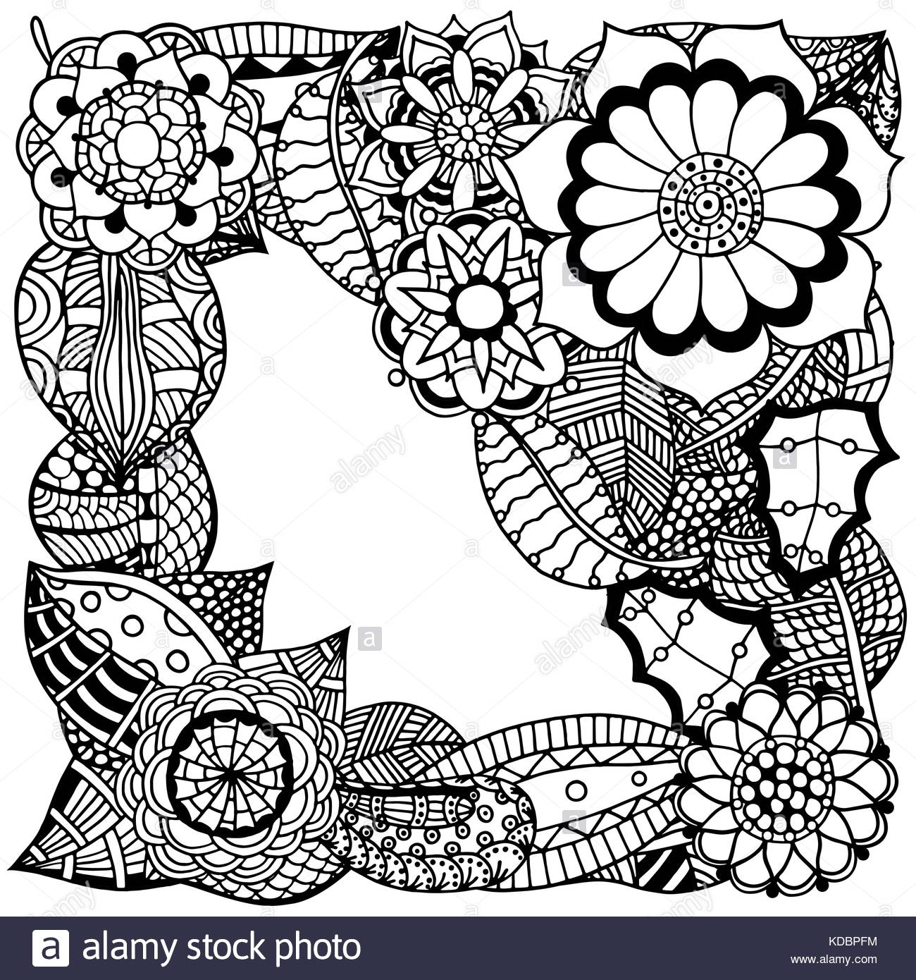 Ornate floral pattern with flowers Doodle sharpie floral 1300x1390