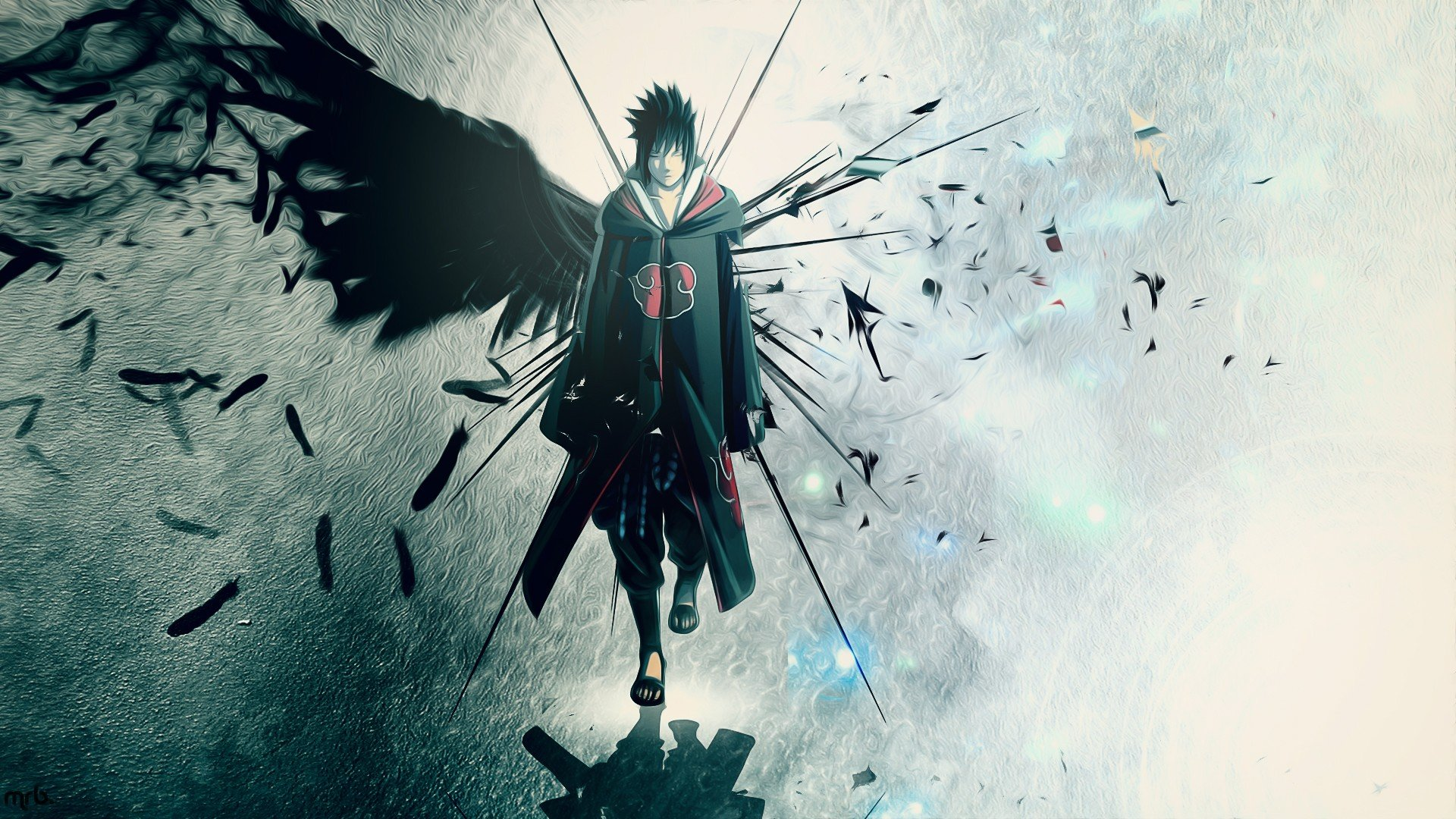 Wings Uchiha Sasuke Naruto Shippuden Akatsuki feathers artwork 1920x1080