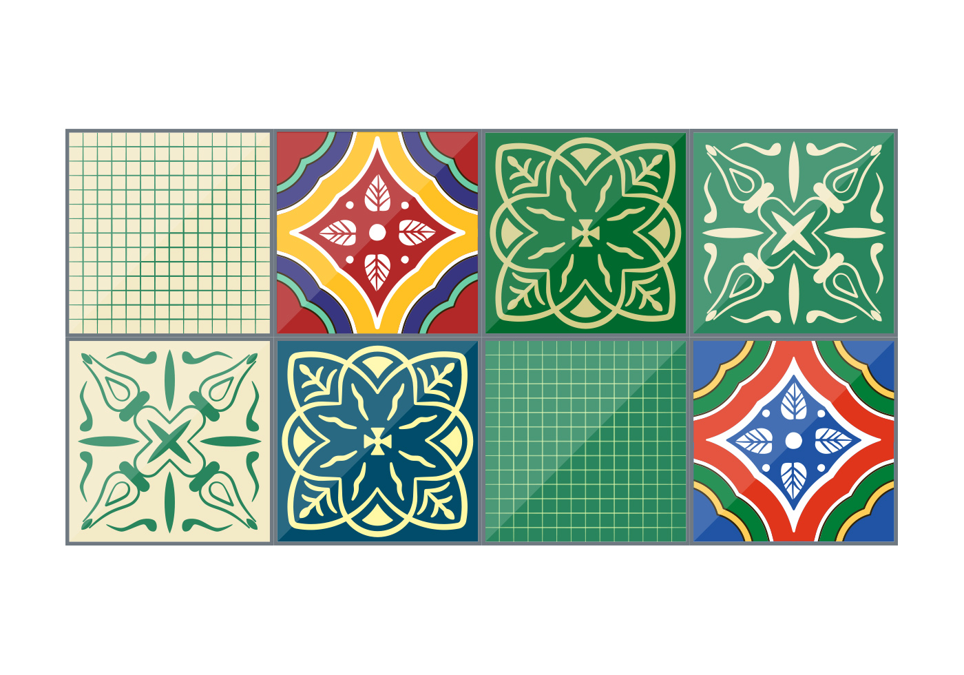 Emerald Vector Talavera Tiles   Download Vector Art Stock 1400x980
