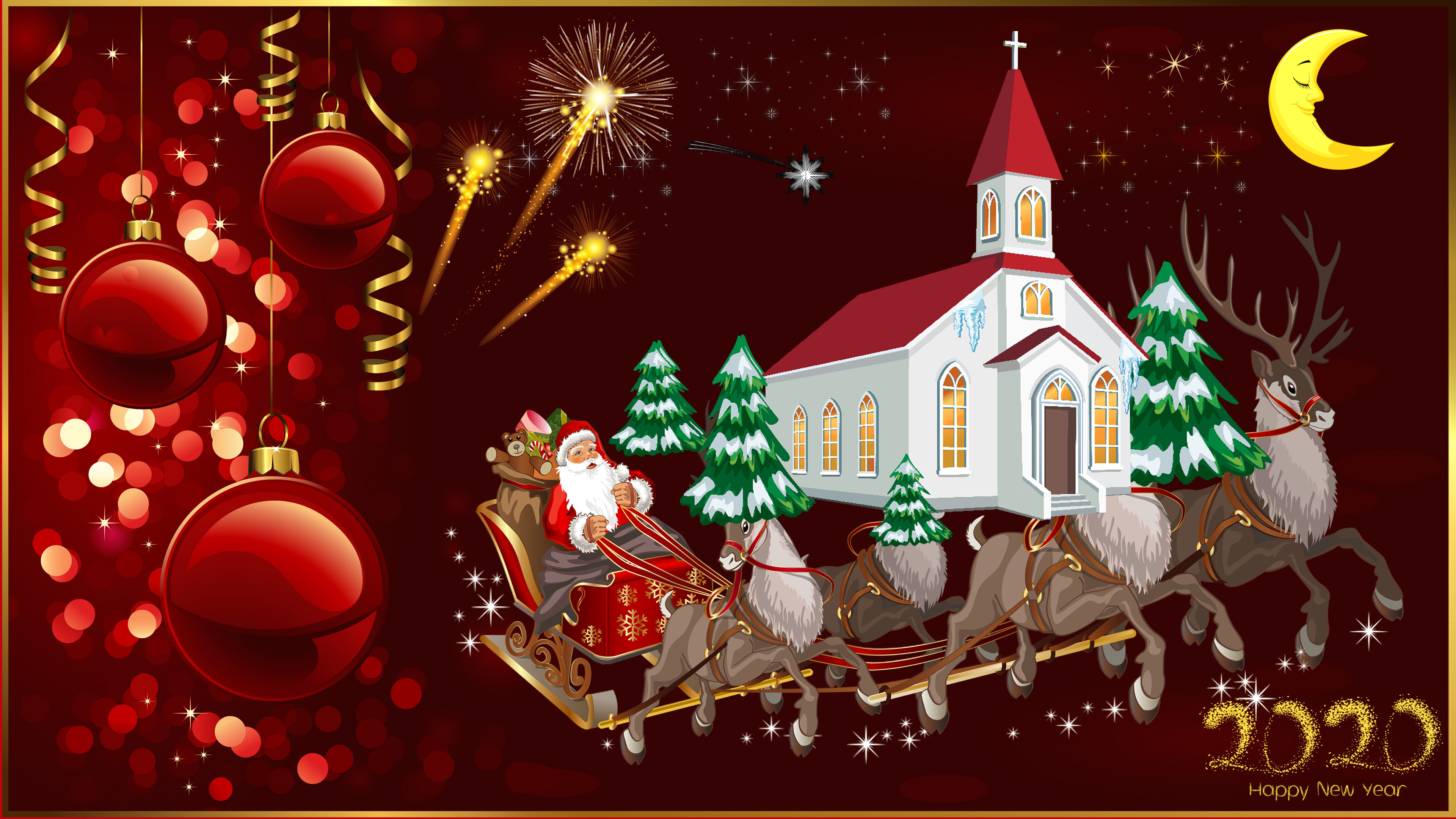 Happy New Year 2020 Merry Christmas Christmas Greeting Card Santa 3840x2160