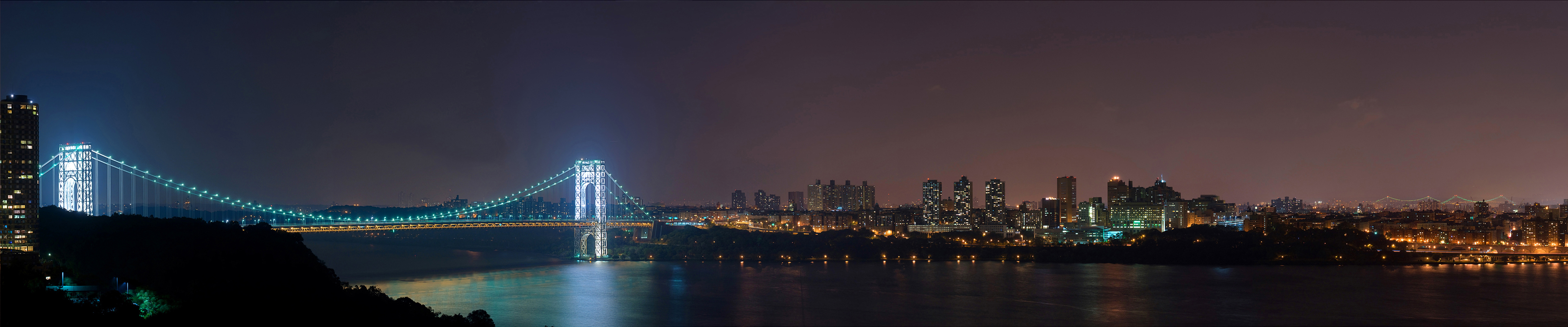 wallpaper new york george washington bridge by night triple monitor