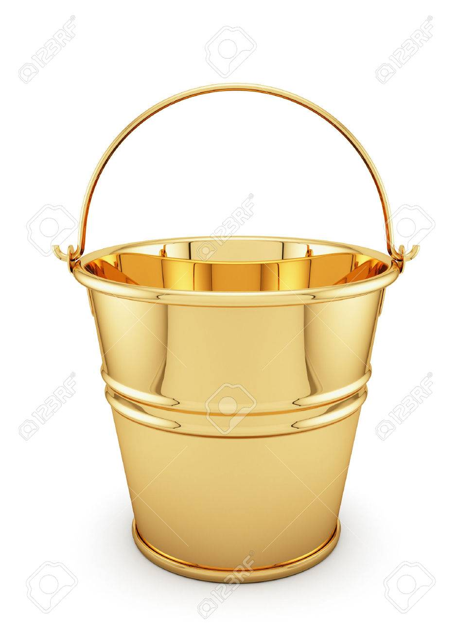 3d Render Of Golden Bucket Isolated On White Background Stock 975x1300
