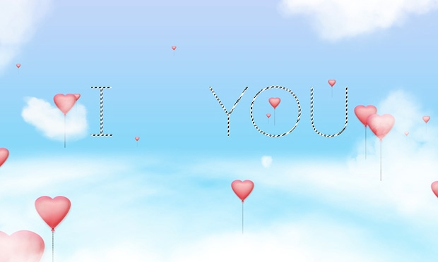 Create a Wallpaper with Flying Hearts Balloons and Cloud Text 620x372