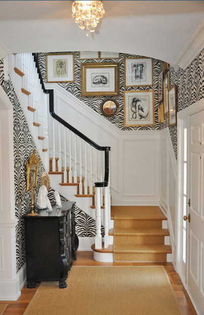 Zebra printwallpaper in a stairway by Megan Winters Atelier 403x622