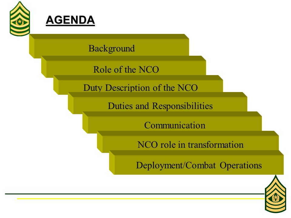ROLE OF THE NONCOMMISSIONED OFFICER Background AGENDA Role of the 960x720