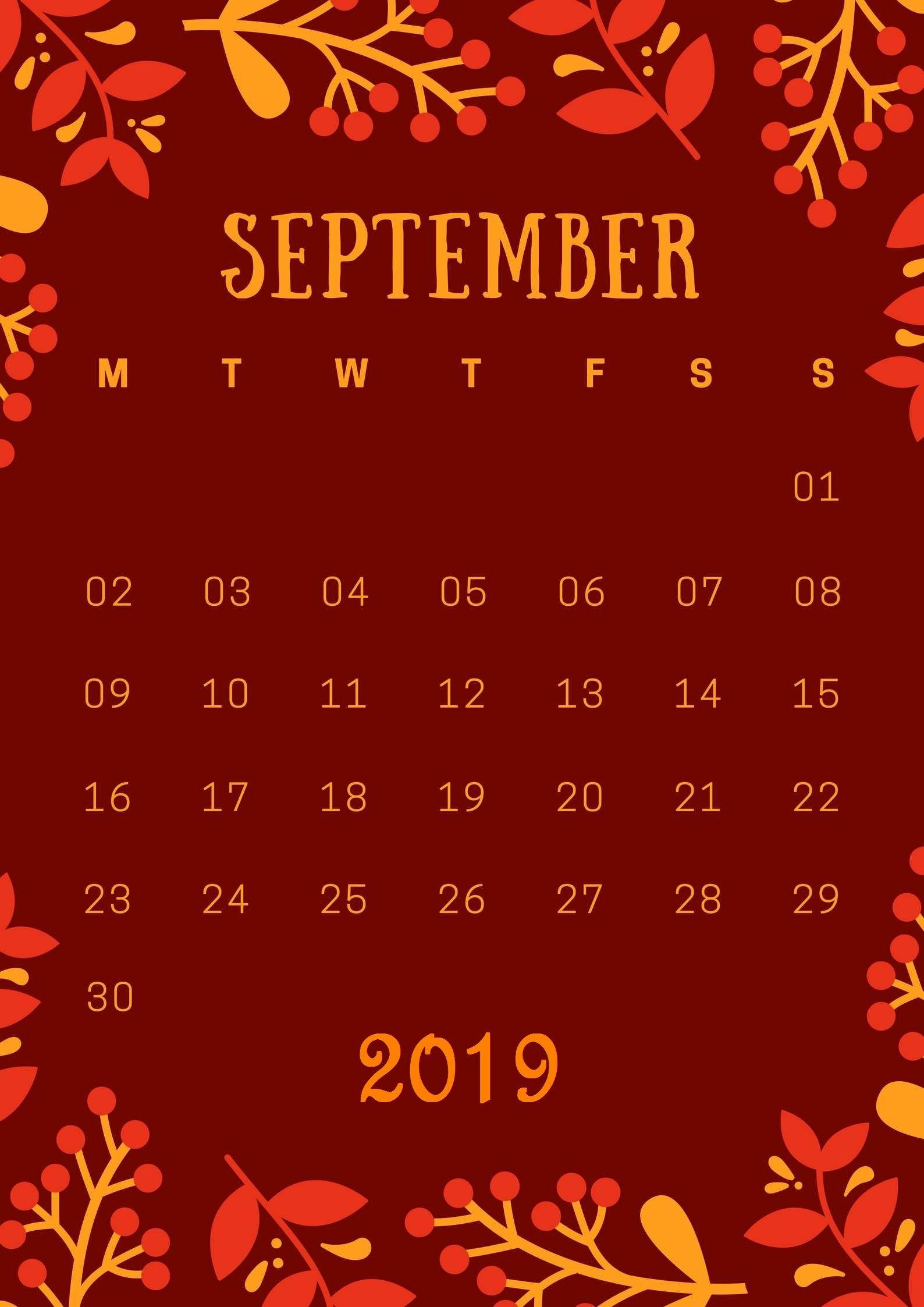 september 2019 iphone wallpaper calendar calendar 2019september 1588x2246