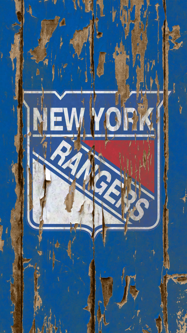 iPhone 5 Wallpaper Sports weathered wood blue ny rangers5 640x1136