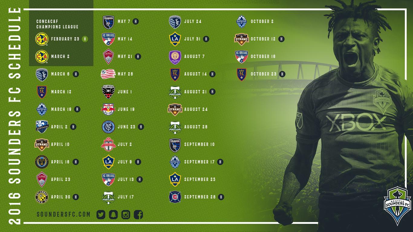 Sounders FC 2016 Schedule Wallpaper | Seattle Sounders FC