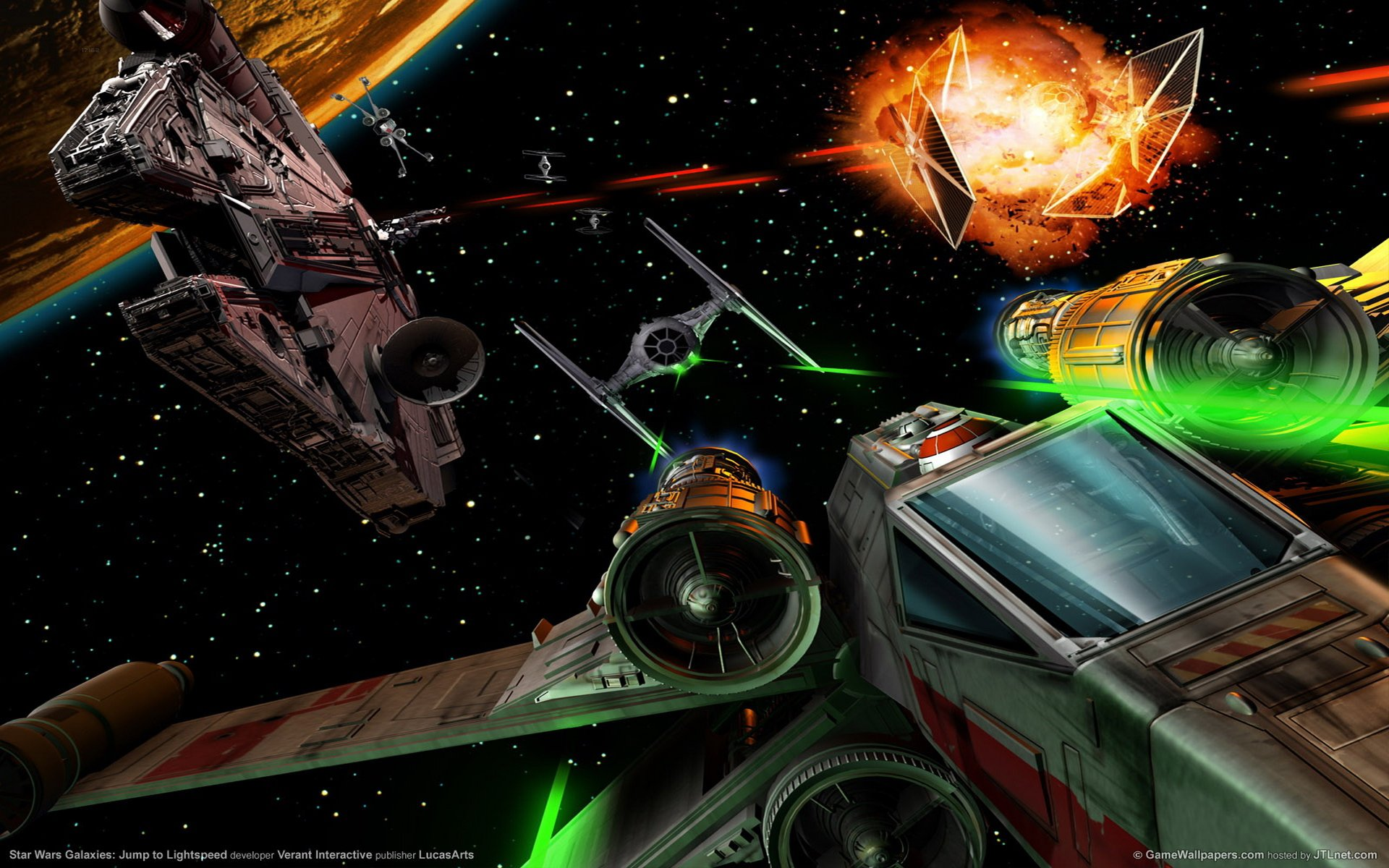 Star Wars Millennium Falcon Space Ship Combat Action Adventure 1920x1200