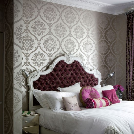Get a boudoir style bedroom Bedroom wallpaper ideas housetohomeco 550x550