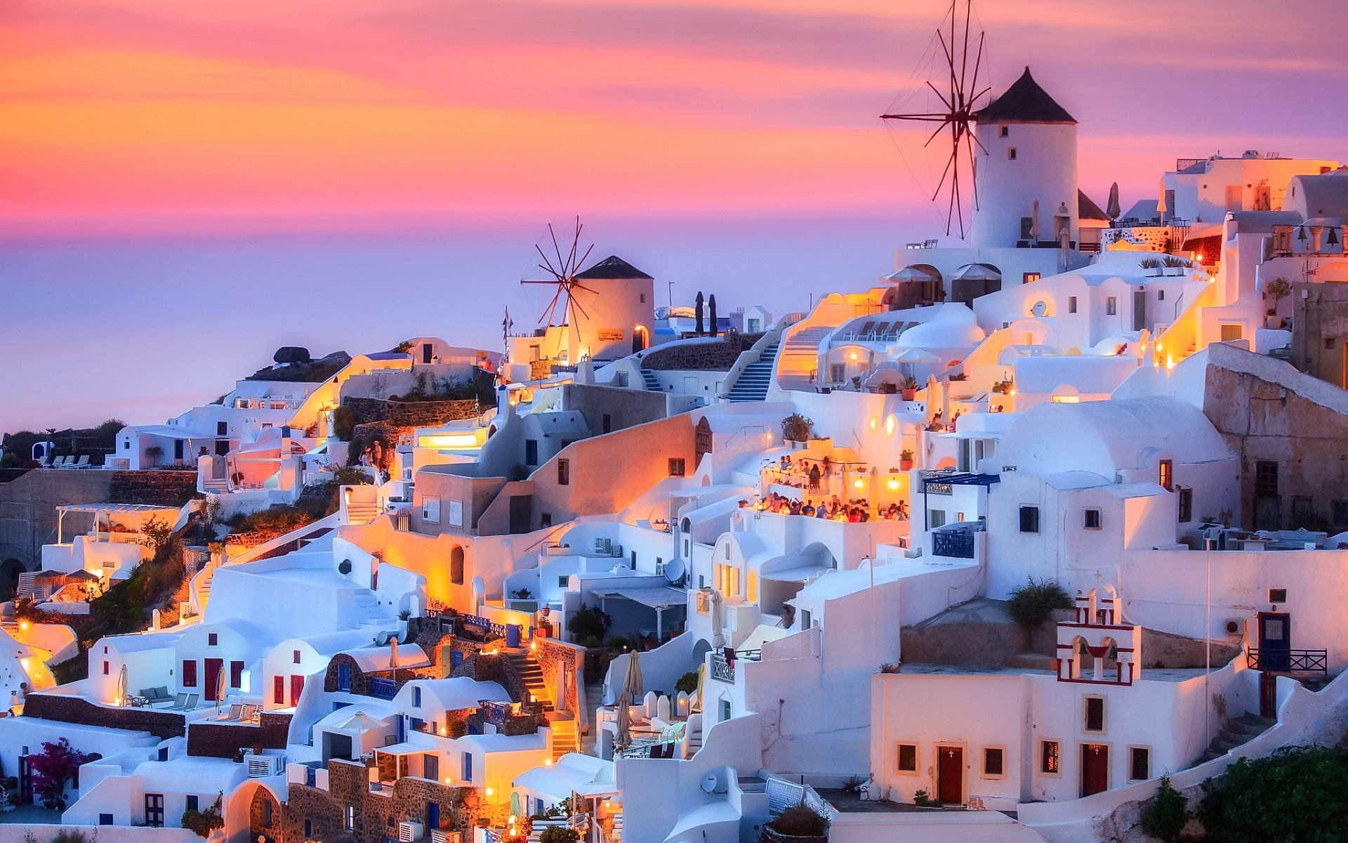 Download wallpapers Santorini Thira island Aegean Sea Greece 1920x1200