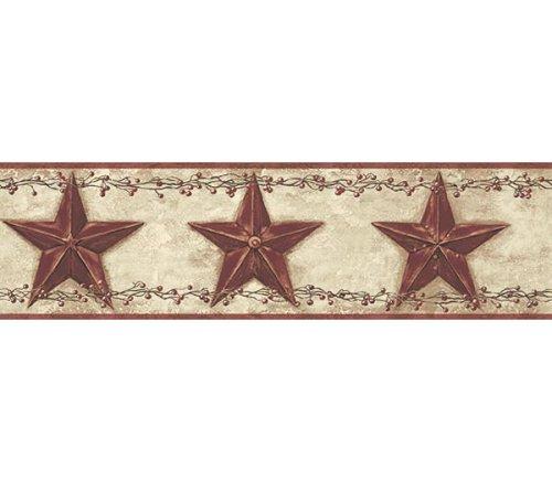 Rolls of Country Barn Stars Wallpaper Border Rusty Tin Primitive 500x437