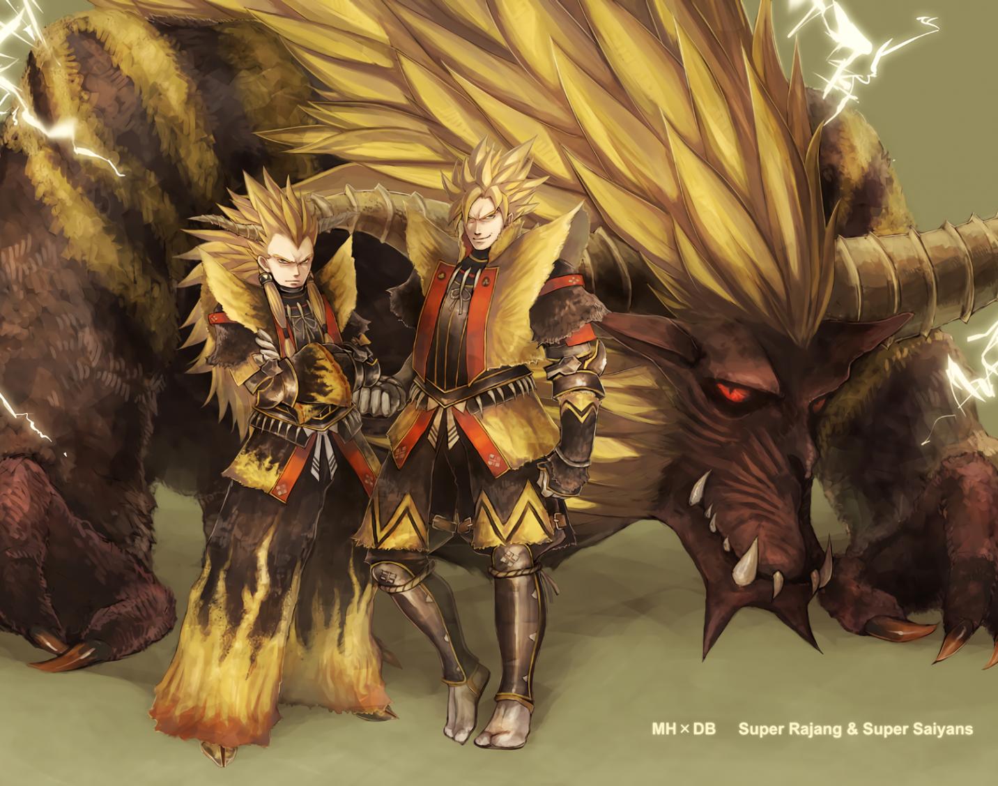 Download 1432x1127 Dragon Ball Z Goku Vegata Monster Hunter 1432x1127