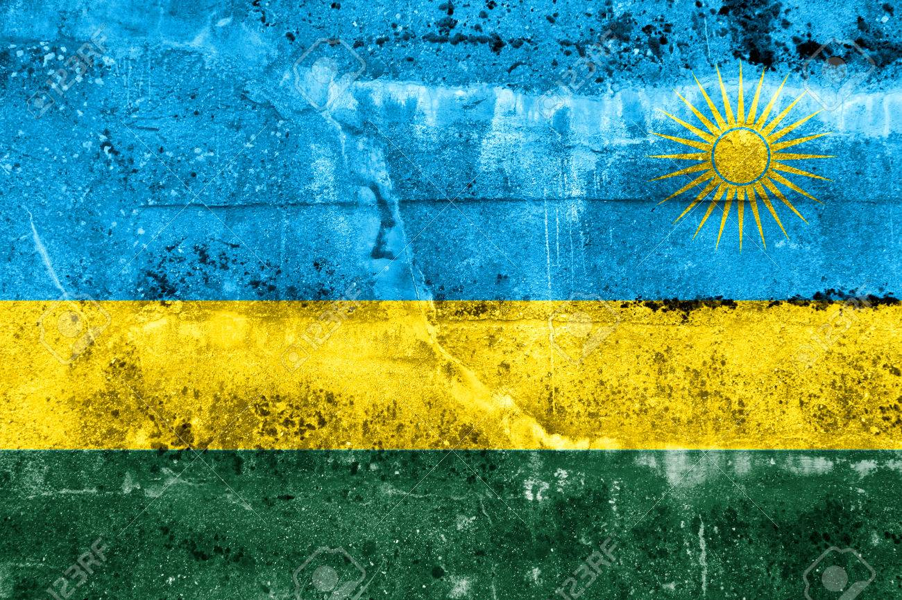 Rwanda Flag Painted On Grunge Wall Stock Photo Picture And 1300x866