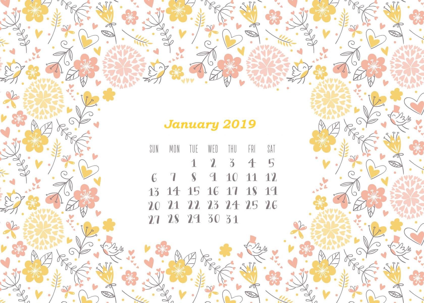January 2019 HD Calendar Wallpapers Calendar 2019 1680x1200