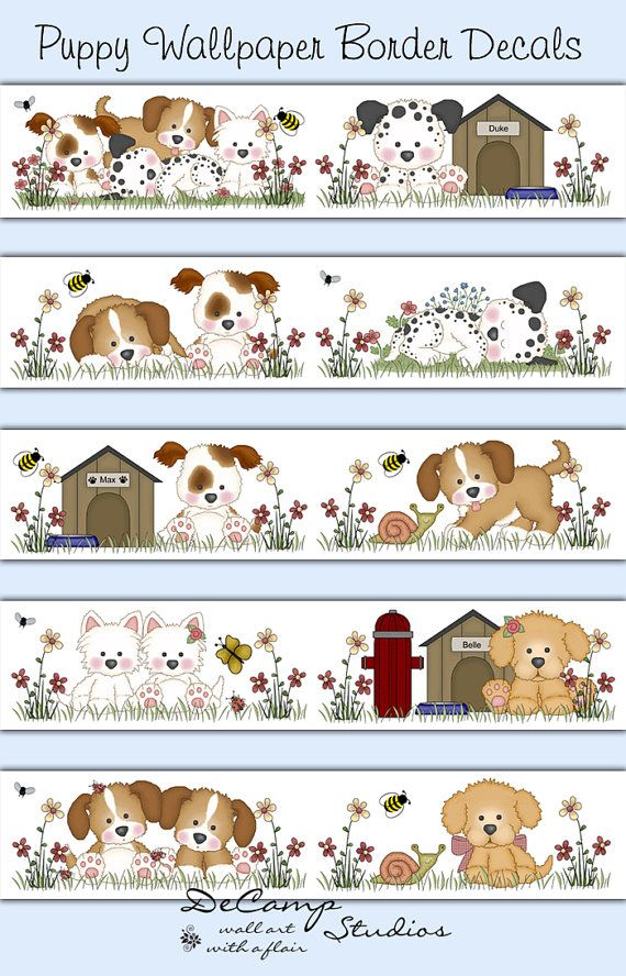 Puppy Dog Wallpaper Border for baby boy or girl nursery and childrens 570x888