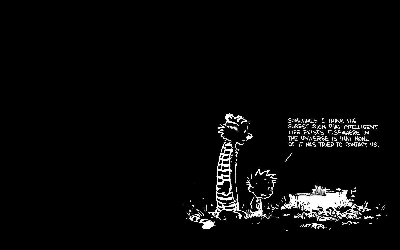 Free Download Comics Calvin And Hobbes Black Background Wallpaper