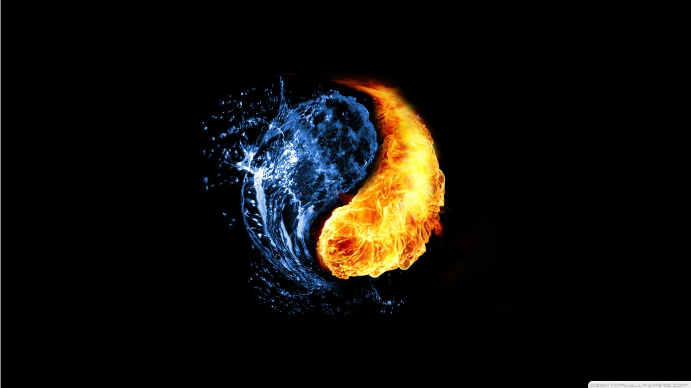 Fire Yin Yang Ying Yang Black Background 1366768 86768 HD Wallpaper 1366x768