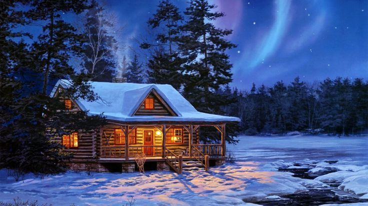 Cabin in the Snow Snow Cabin Painting winter Pinterest 736x413