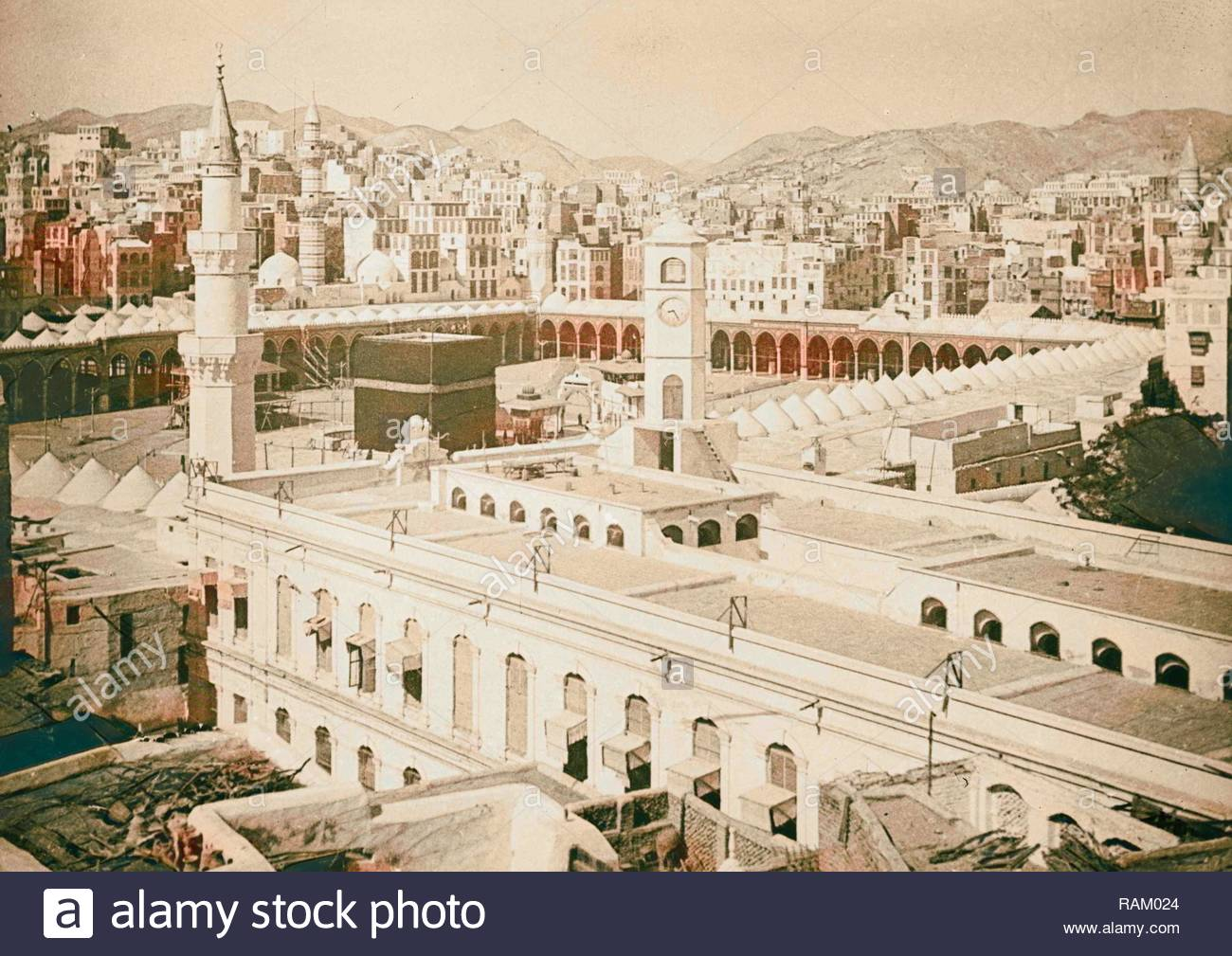 Mecca ca 1910 Birds eye of Kaaba with city in background 1910 1300x1009