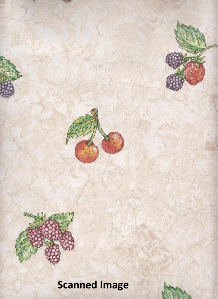 Kitchen Wallpaper Cherries Strawberries Raspberries Sidewall Cream 745x1023