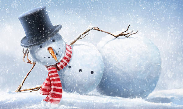 Winter Background with Snowman 600x358