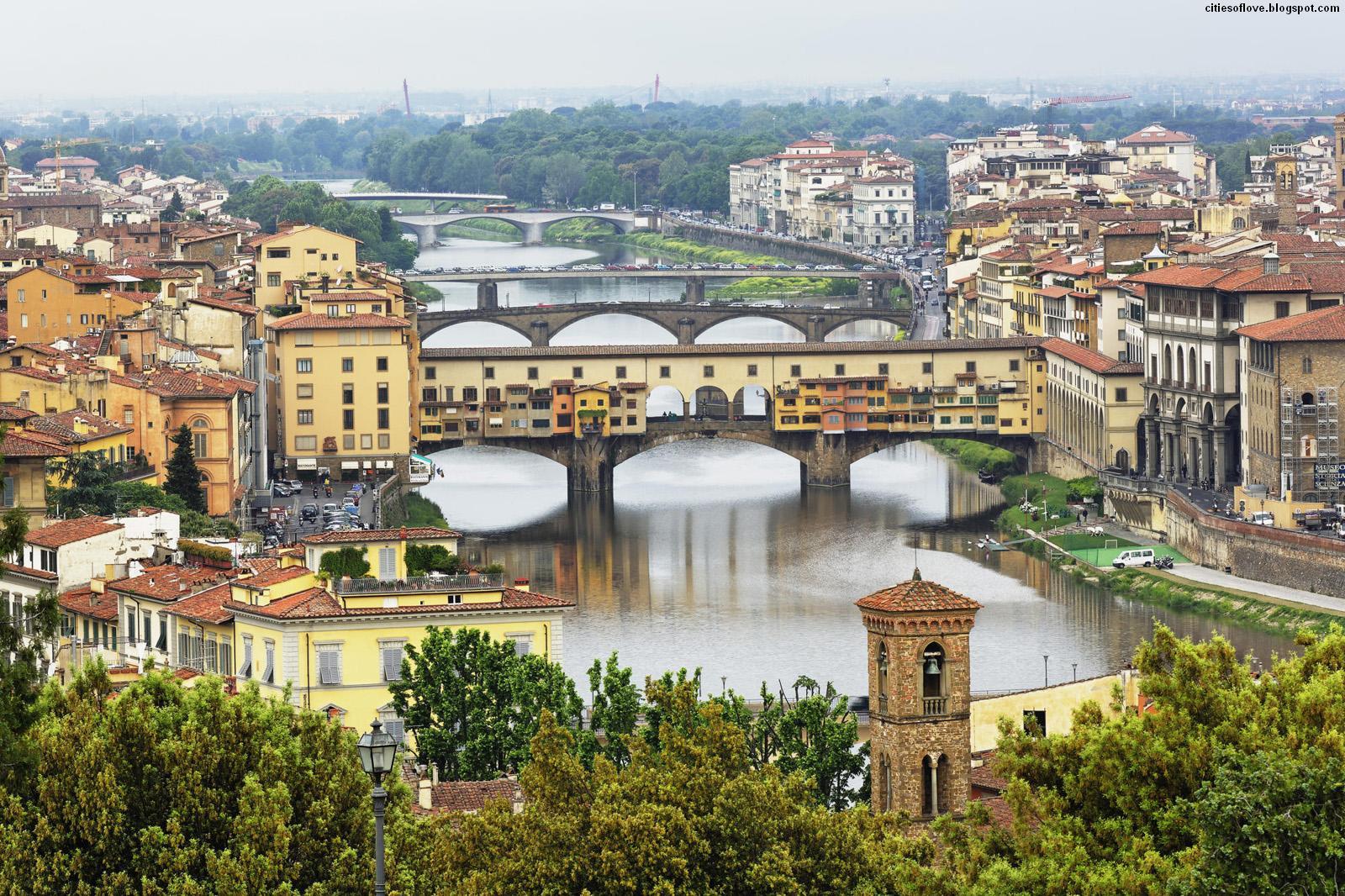Beautiful Italian Old Bridge Arno River Italy Hd Desktop Wallpaper 1600x1066