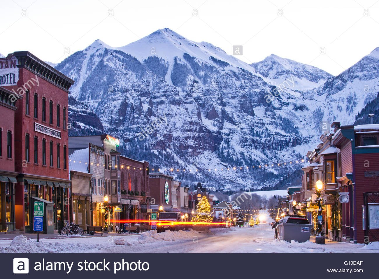 A winter morning in Telluride Colorado Stock Photo 104084919   Alamy 1300x957