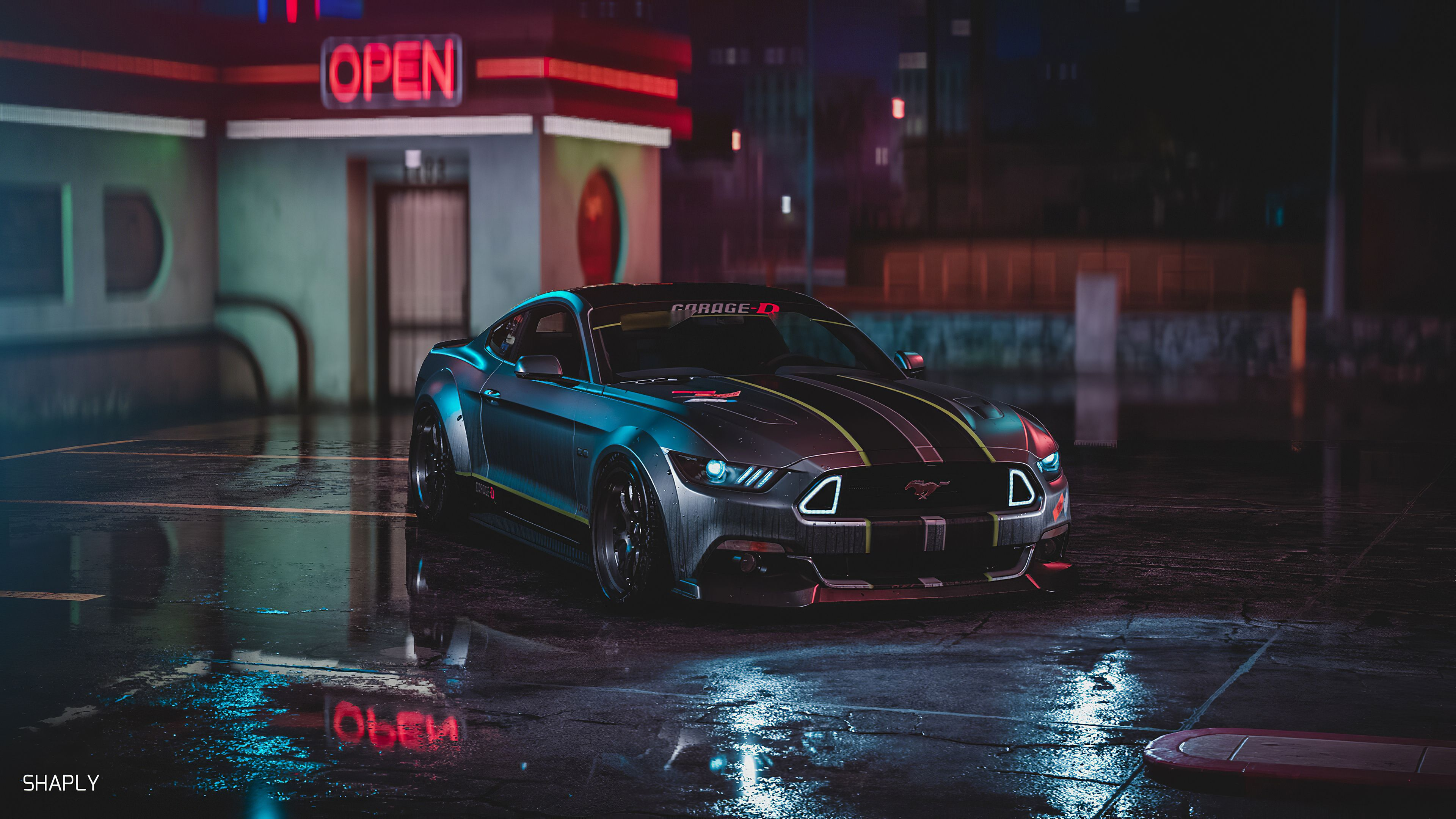 Ford Mustang Gt Neon Harmony hd wallpapers ford wallpapers ford 3840x2160