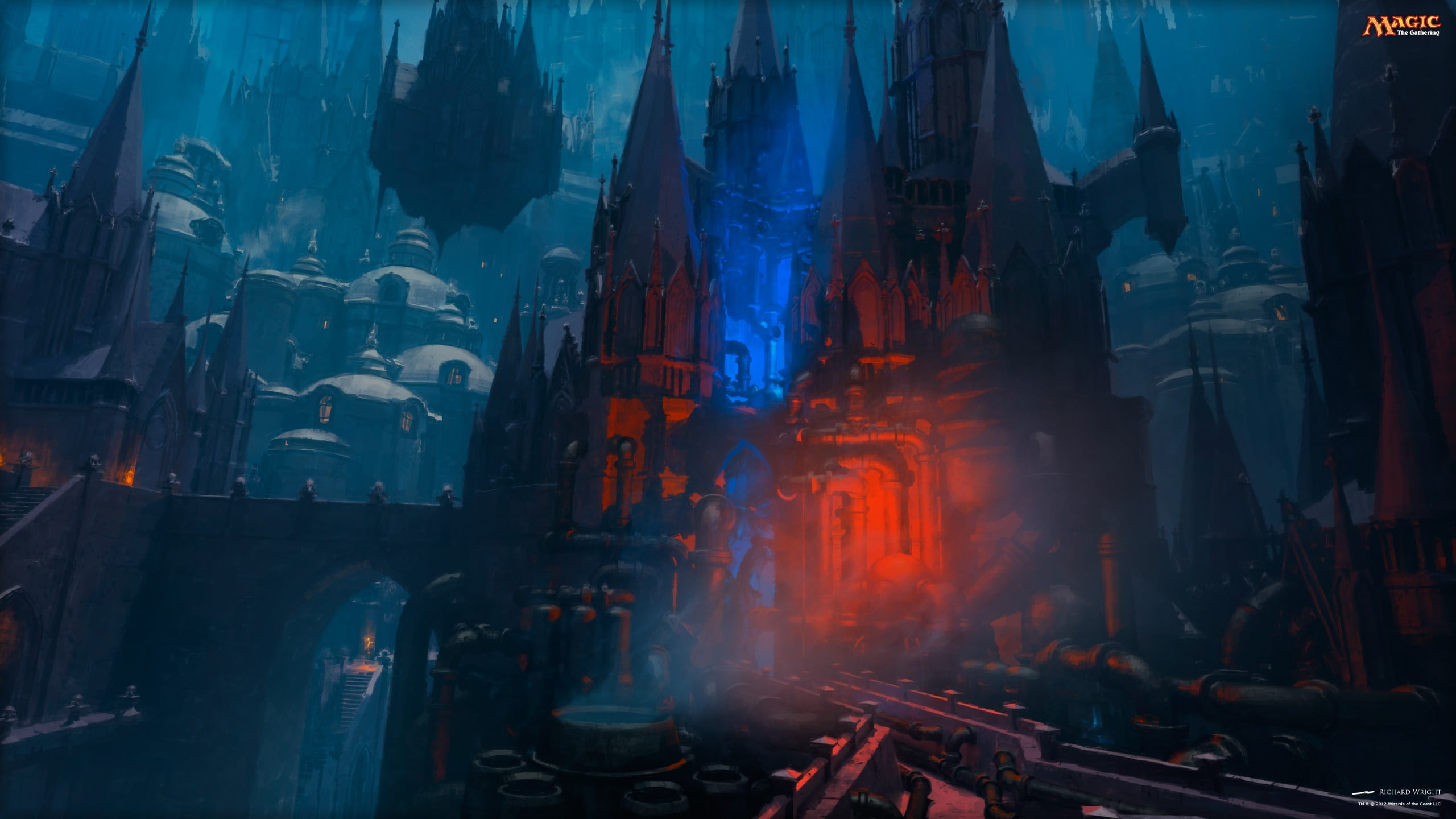 Red and black castle wallpaper Magic The Gathering Izzet town 2560x1440