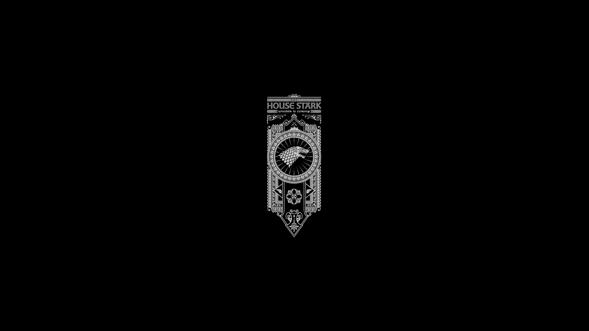 Game of Thrones Song of Ice and Fire Stark Minimal Black wallpaper 1920x1080
