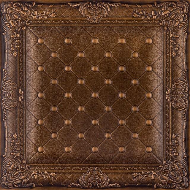 DCT LRT03 Faux Leather Ceiling Tile   Vintage Gold  wallpaper 640x640