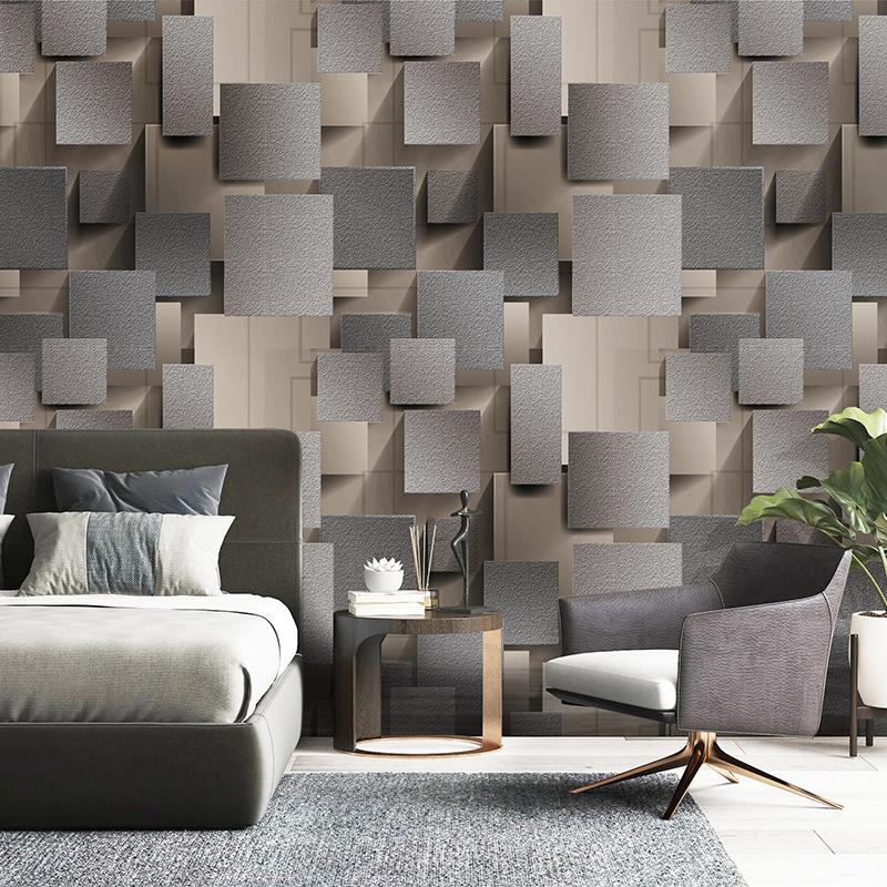 Modern 3D Lattice Non woven Suede Wallpaper For Walls Roll Papel 800x800