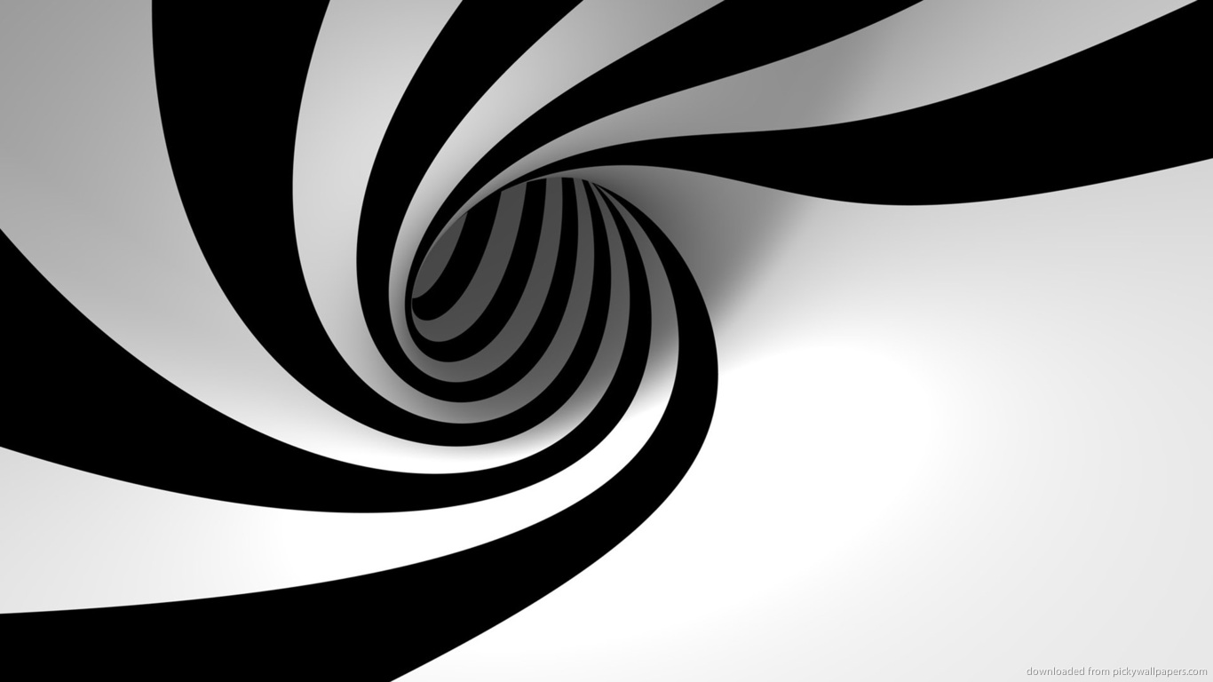 Download 1366x768 3D Black And White Twirl Wallpaper 1366x768